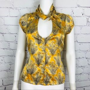 Free People Women's Blouse 4 Gold Floral Tie Neck